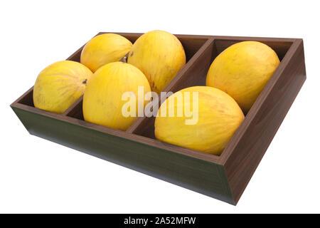 Gelbe Melonen in Holzkisten, Melonen Früchte close up, Street Market, Weiß - Stockfoto