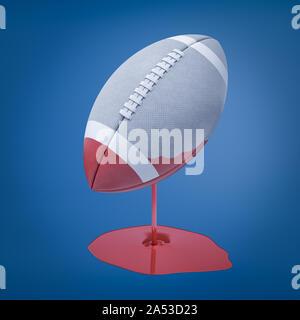 3D-Rendering für eine hellgraue ovalen Ball für American Football, der in roter Farbe, die immer noch nach unten tropft und bildet eine Pfütze eingetaucht wurde. - Stockfoto