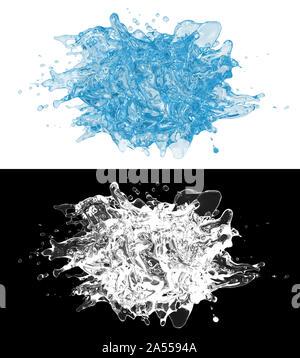 3D-Darstellung eines blauen Wasser spritzen mit alpha Schicht - Stockfoto