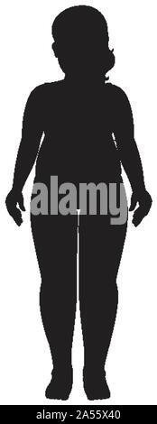 Silhouette menschlichen weiblichen auf weißem Hintergrund Abbildung - Stockfoto