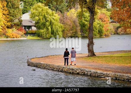 Willow, Aspen, und Pappeln drehen, Gold und Rot entlang der Deschutes River in Downtown Bend, Oregon, im Herbst während Mitte Oktober. - Stockfoto