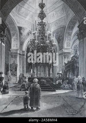 An der Reliquien des Heiligen Unschuldigen von Irkutsk - Gravur 1897. St. Unschuldig in Irkutsk (1680-1731) war ein Missionar nach Sibirien und der erste Bischof von Irkutsk in Russland. - Stockfoto
