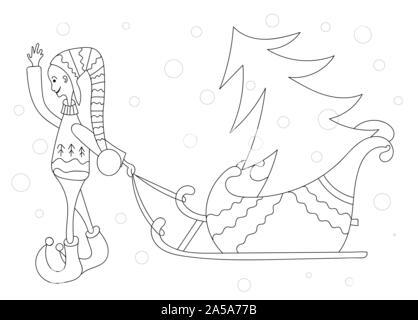 Malbuch für Kinder. Neues Jahr Thema. Leprechaun Weihnachtsbaum. Linear Schwarz und weiße Zeichnung.. - Stockfoto