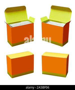 Echte Fotografie der Medizinischen Boxen in vier Positionen - Stockfoto