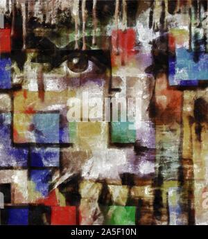 Moderne Kunst. Mystic Gesicht. Flecken von Farbe