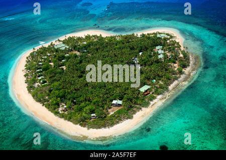 Luftaufnahme der herzförmigen Insel Tavarua, in der Nähe von Viti Levu, der Republik Fidschi, südpazifischen Inseln, Pazifik - Stockfoto