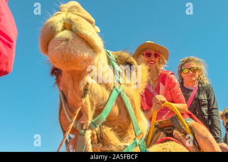 Paar Kamelreiten in der australischen Wüste des Northern Territory. Kaukasische Touristen genießt Kamelritt auf roten Dünen des Roten Zentrums, Zentral Australien - Stockfoto