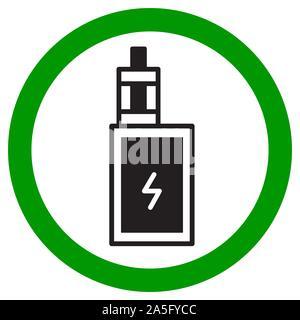 Vaping Bereich anmelden. Elektronische Zigarette Symbol. Isolierte Vector Illustration auf weißem Hintergrund. - Stockfoto