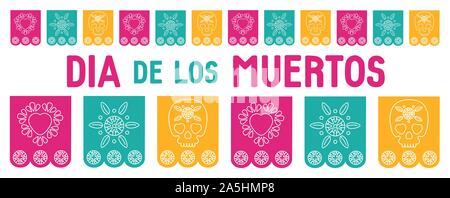 Tag der Toten, Dia de los Muertos, Abdeckung für Website, Social Media, Hintergrund, Banner, Grußkarte. Vector Illustration mit mexikanischen Bunting, su - Stockfoto