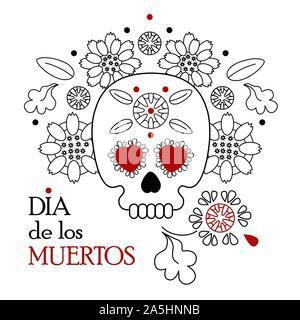 Tag der Toten, Dia de los Muertos weißer Hintergrund, Banner und Grußkarte Konzept mit Zucker Schädel oder Calavera, Blumen und Text. - Stockfoto