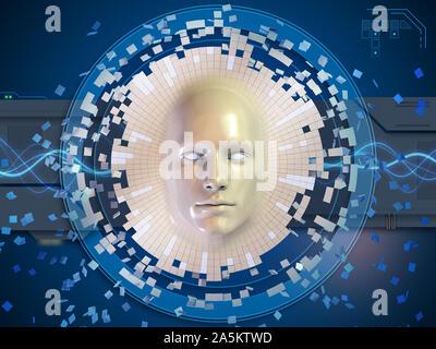 Konzeptionelle Bild eines Kopf Maske auflösen in eine hohe Technologie Hintergrund. 3D-Darstellung. - Stockfoto