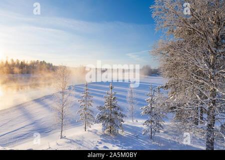 Nebel über dem Gefrierpunkt Fluss auf einer sonnigen kalten Wintertag. Bäume, bedeckt mit Schnee und Frost.