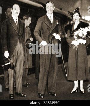 1937 Foto während der Krönung von König George VI. von Großbritannien übernommen. Royal Gäste Krone Prinz & Prinzessin von Schweden mit Herzog von Gloucester. - Stockfoto