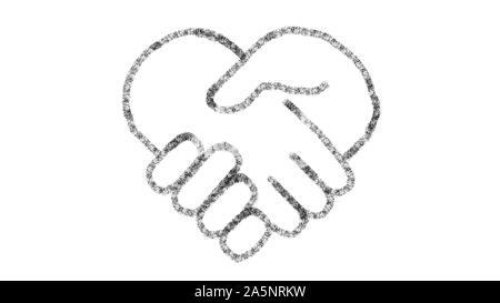 Herzförmiges Symbol Hand mit Zeichnung Stil auf Tafel entworfen, animierte Material ideal für Compositing und motiongrafics - Stockfoto