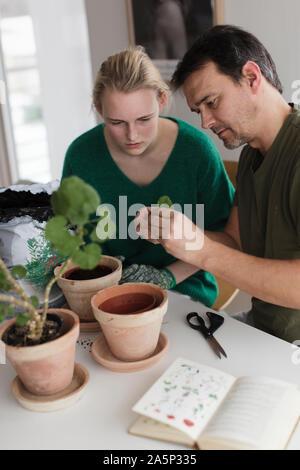 Junges Paar Blumen Pflanzen - Stockfoto