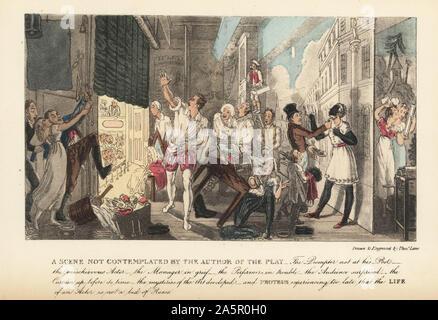 Chaotische Szenen auf eine Regentschaft Stufe als der Vorhang sich früh geht. Eine Szene, die nicht vom Autor der Spielen vorgesehen. Die Registerkarte Prompter nicht auf seinem Posten, der spitzbübisch Schauspieler, der Manager, der Trauer, der ausübenden Künstler in der Mühe, das Publikum überrascht, die Vorhänge bis vor der Zeit. Papierkörbe Kupferstich von Theodore Lane von Pierce Egan das Leben der Schauspieler, Pickering und Chatto, London, 1892 geätzt. - Stockfoto