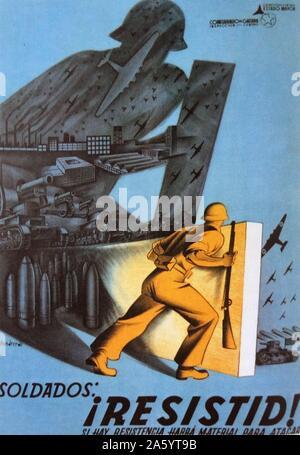 Kommunistische Propaganda-Plakat Rallyesport Widerstand während der letzten Monate aus dem spanischen Bürgerkrieg - Stockfoto