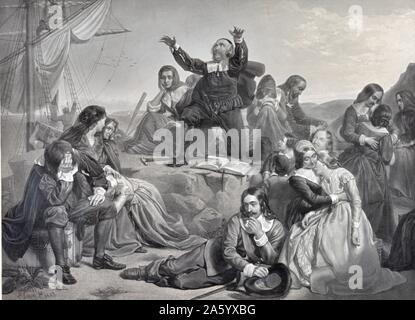 Illustration von der Abfahrt der Pilgerväter für Amerika. Vom Jahre 1620 - Stockfoto