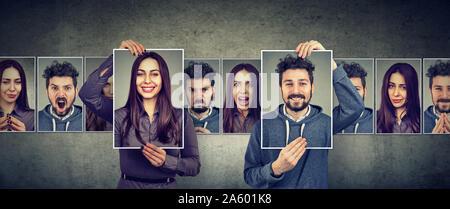 Ausgewogenes Verhältnis Konzept. Maskierte Mann und Frau unterschiedliche Emotionen ausdrücken - Stockfoto