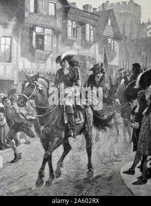 Jakob II. von Expand 1633-1701: 1685-88 regierte. James, Ankunft in Dublin nach der Niederlage seiner Truppen in der Schlacht am Boyne (1690) durch die Kräfte von William III. - Stockfoto