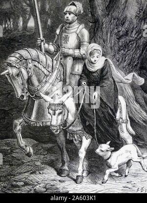 12. Jahrhundert Ritter auf Horsback begleitet eine Dame. 19. Jahrhundert englische Darstellung Stockfoto