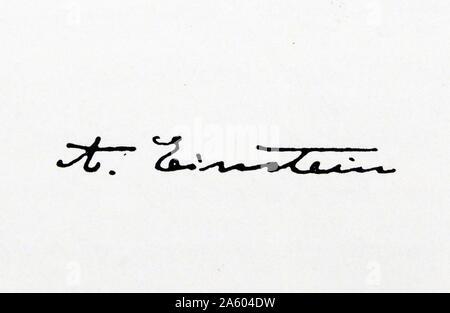 Unterschrift des deutschstämmigen Physiker Albert Einstein (1879-1955). Vom 20. Jahrhundert - Stockfoto