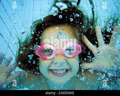 Underwater Portrait Of Happy girl