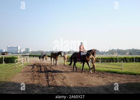 Rennen Pferde an der berühmten Royal Calcutta Turf Club ausgeübt wird, im Jahr 1820, Kolkata, West Bengal, Indien, Asien - Stockfoto