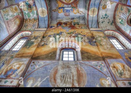 Fresken, Kirche der Geburt der Jungfrau aus 1158, UNESCO-Weltkulturerbe, nördlich von Wladimir, Russland, Europa - Stockfoto
