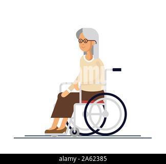 Ältere Person. Großmutter in einem Rollstuhl. Vector Illustration in einem flachen Stil. Ältere behinderte Frau - Stockfoto