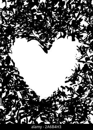 Grunge Schablone rahmen Herzen. Tupfen Sie die lackierten Rahmen Herz, Tinte splatter Textur und Stencils border-Vector Illustration - Stockfoto