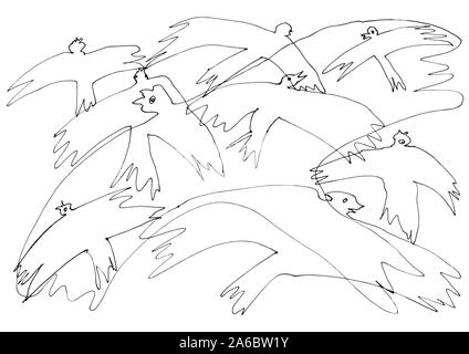 Eine Linie kunst Zeichnung Vögel fliegen. Charmante verflochten Krähen bereit, Farbe. Dekoratives Kunstwerk kann als Grußkarte, Hintergrund, Muster verwendet werden... - Stockfoto