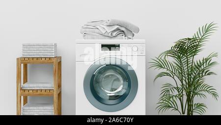 Modernes Bad mit glänzenden weißen Schränke und Waschmaschine, 3D-Rendering - Stockfoto