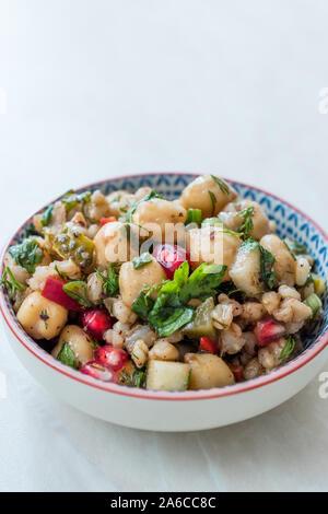Kichererbsen Salat mit Weizen, Granatapfel Samen und Petersilie. Organische frische Lebensmittel. - Stockfoto