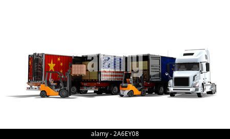 Modernes Konzept der Verladung von Waren in Anhänger für den Transport Kipper 3D-Render auf weißem Hintergrund mit Schatten - Stockfoto