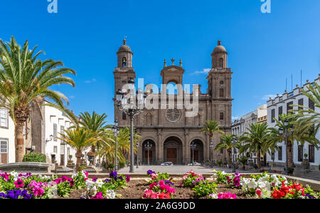 Landschaft mit Kathedrale Santa Ana Vegueta in Las Palmas, Gran Canaria, Kanarische Inseln, Spanien - Stockfoto