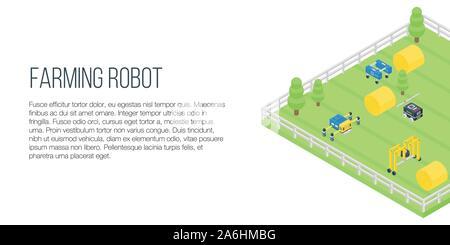 Landwirtschaft Roboter Konzept Banner, isometrische Stil - Stockfoto