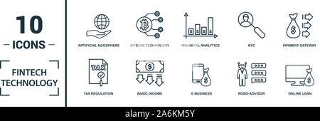 Fintech Technologie Icon Set. Kreative Elemente Grundeinkommen, bitcoin Technologie, online kredit, Kyc, Geschäftsmodell Symbole enthalten. Kann verwendet werden für - Stockfoto