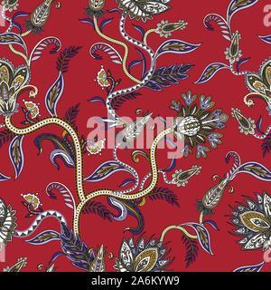 Nahtlose Muster mit ethnischen ornament Elemente und paisleys. Folk Blüten und Blätter für Druck oder Stickerei. - Stockfoto