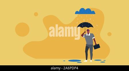 Geschäftsmann Holding umbrella Protection Security Konzept afrikanische amerikanische Geschäftsmann unter Regen Skizze voller Länge horizontale Vektor Illustration stehend - Stockfoto