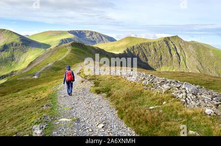 Ein Wanderer auf einem Stein Chip weg auf einem Bergrücken in Richtung zu den Gipfeln der Hopegill Hobcarton und Kopf im Lake District, England, UK.