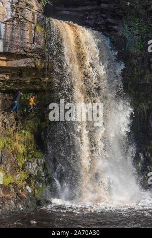 Der Fluss Twiss purzelt die Ingleton Wasserfälle Trail in North Yorkshire. Thornton Kraft. Die ingleton Glens sind Sssi. - Stockfoto