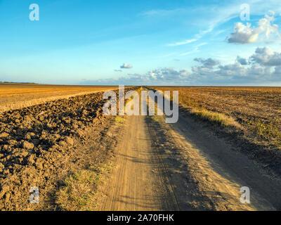 Schwarz gerade Weg durch den Herbst. Verloren am Horizont. Trockene Gräser im Feld. Gepflügte Furchen entlang der Straße. - Stockfoto