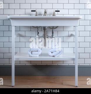 Modernes Bad mit altmodischen freistehende Waschbecken und weiße Wandfliesen. - Stockfoto