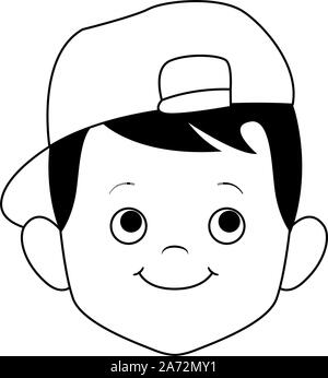 Cute boy trug eine Kappe, flache Bauweise - Stockfoto