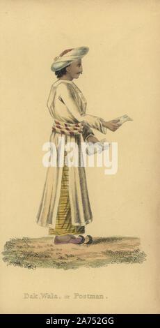 """Dauk wala oder indische Postman, in Uniform, Turban, und Hausschuhe, Buchstaben tragen. Papierkörbe Kupferstich von einem unbekannten Künstler aus 'asiatischen Kostümen, """"Ackermann, London, 1828. - Stockfoto"""