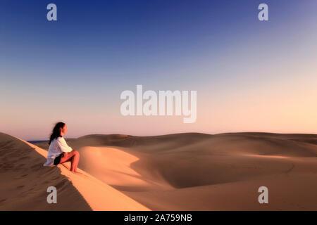 Kanarische Inseln, Gran Canaria, Playa del Ingles, Maspalomas Sand Dunes National Park (MR) - Stockfoto