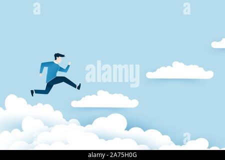 Ein Mann springt auf den Treppen Wolken, Schritte zum Erfolg. Geschäft Ideen Design in EPS 10 Vector Illustration.