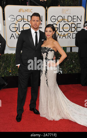 LOS ANGELES, Ca - 12. JANUAR 2014: Channing Tatum und Jenna Dewan-Tatum am 71st jährlichen Golden Globe Awards im Beverly Hilton Hotel. © 2014 Paul Smith/Featureflash - Stockfoto