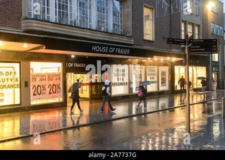Exeter Devon, Großbritannien. 30. Oktober 2019. Blick auf das Haus von Fraser Kaufhaus auf Hight Street in Exeter, die geschlossen wird am Samstag, den 2. November. Foto: Graham Jagd-/Alamy leben Nachrichten - Stockfoto